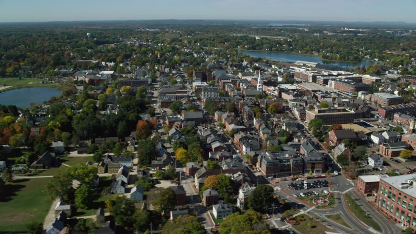 6k stock footage aerial video orbiting a coastal community with fall foliage, autumn, Portsmouth, New Hampshire Aerial Stock Footage   AX147_175