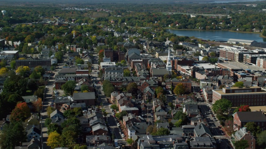 6k stock footage aerial video approaching main street and steeple in coastal town, autumn, Portsmouth, New Hampshire Aerial Stock Footage   AX147_182
