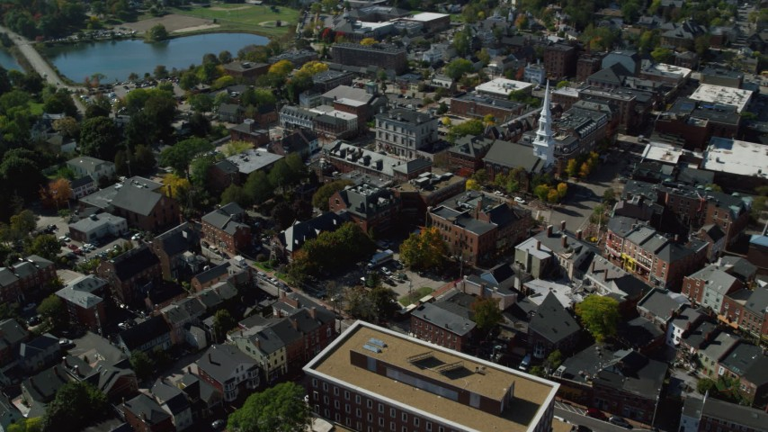 6k stock footage aerial video of office buildings and streets in a small coastal town, autumn, Portsmouth, New Hampshire Aerial Stock Footage   AX147_183
