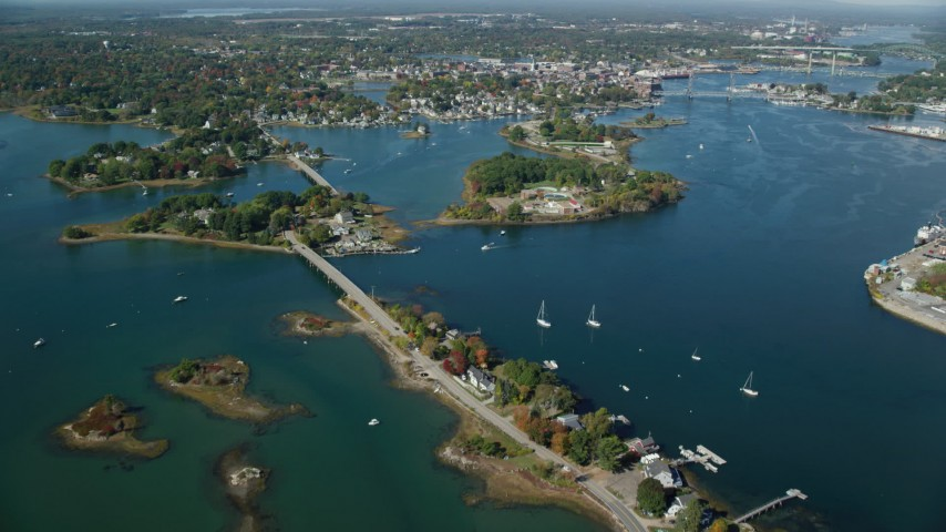 6k stock footage aerial video approaching Pierce Island, coastal town, Portsmouth, New Hampshire Aerial Stock Footage   AX147_201