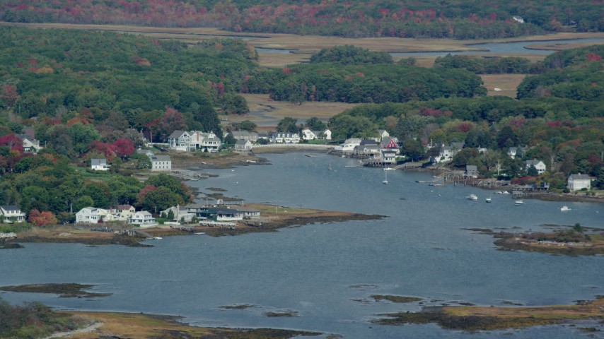 6k stock footage aerial video flying by waterfront homes, small cove, autumn, Kennebunkport, Maine Aerial Stock Footage | AX147_259
