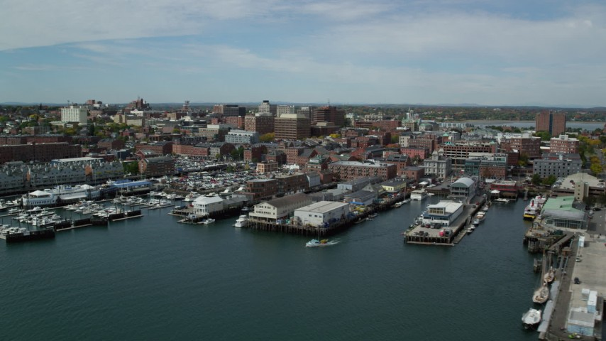 6k stock footage aerial video flying by downtown, piers and marina, Portland, Maine Aerial Stock Footage | AX147_323