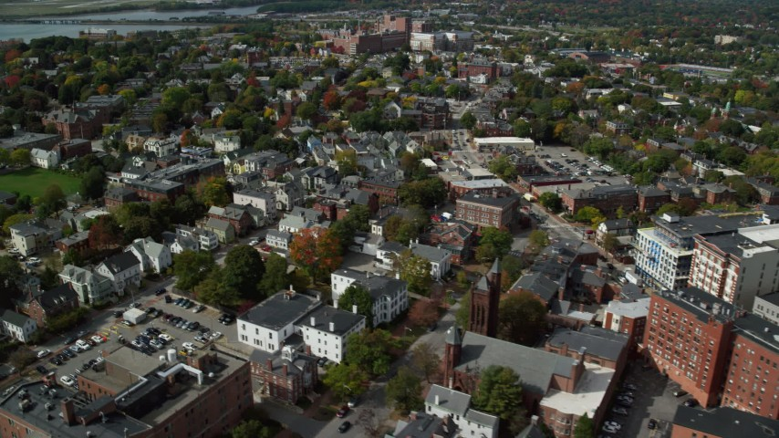 6k stock footage aerial video flying by neighborhood, autumn, Portland, Maine Aerial Stock Footage | AX147_336