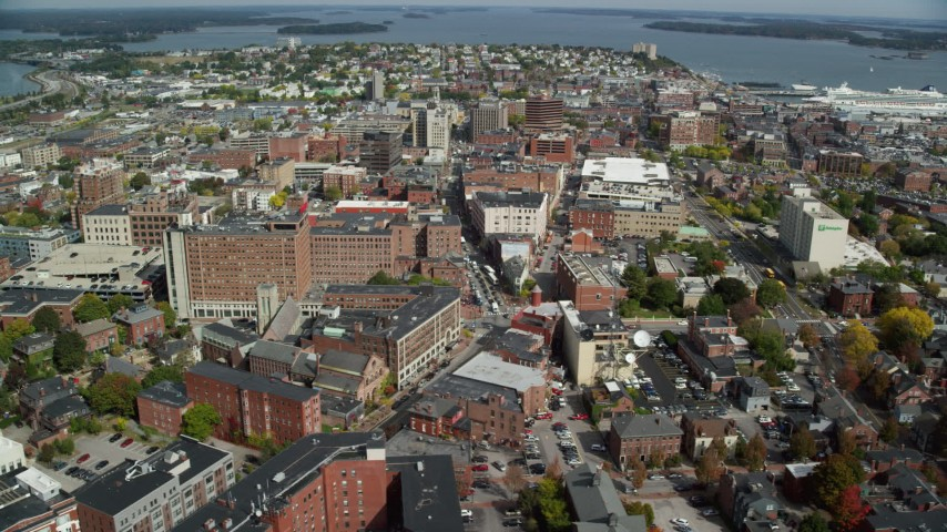6k aerial video flying over The Westin Portland Harbourview, downtown, Portland, Maine Aerial Stock Footage | AX147_337