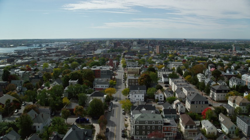 6k stock footage aerial video flying over Congress Street, approach Portland Observatory, neighborhood, Portland, Maine Aerial Stock Footage | AX147_348