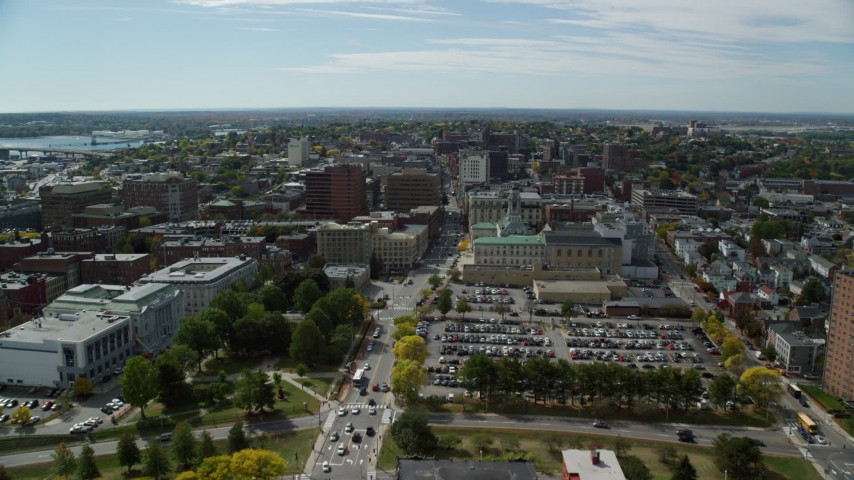 6k aerial video flying over Congress Street, approach Portland City Hall, Portland, Maine Aerial Stock Footage | AX147_350