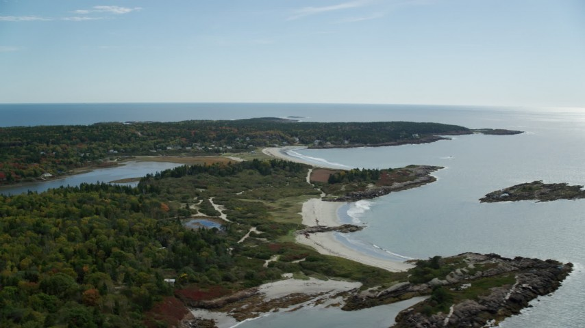 6k stock footage aerial video flying by beaches, oceanfront homes, autumn, Phippsburg, Maine Aerial Stock Footage   AX147_382