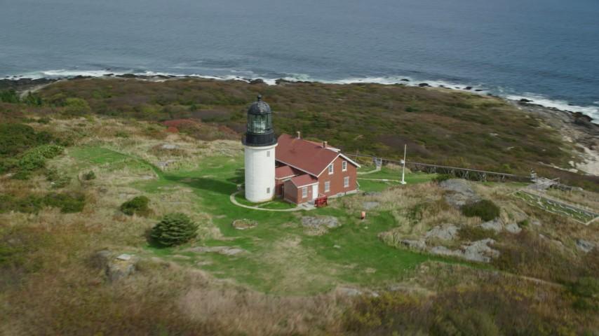 6k stock footage aerial video approaching Seguin Island, orbiting Seguin Light, autumn, Phippsburg, Maine Aerial Stock Footage | AX147_389