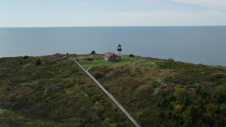 6k stock footage aerial video orbiting Seguin Light, Seguin Island, autumn, Phippsburg, Maine Aerial Stock Footage | AX147_390