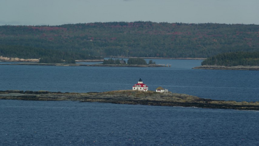 Flying by Egg Rock Light, Egg Rock, autumn, Bar Harbor, Maine Aerial Stock Footage | AX148_182