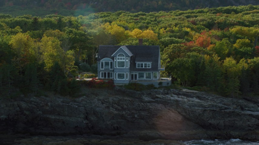 6K stock footage aerial video approaching waterfront mansion, autumn, Bar Harbor, Maine Aerial Stock Footage | AX148_184