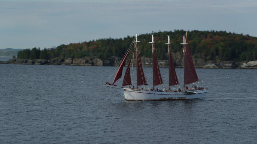 Fly by sailing ship in Bar Harbor, Maine Aerial Stock Footage | AX148_196
