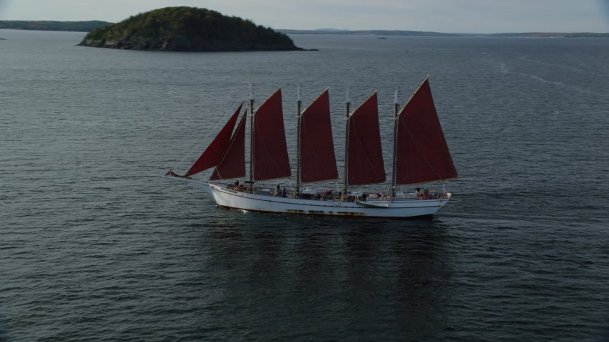 Tracking a sailing ship in Bar Harbor, Maine Aerial Stock Footage | AX148_197