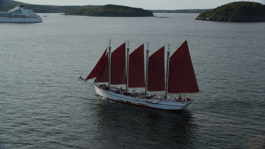 6K aerial video tracking a sailing ship in Bar Harbor, Maine Aerial Stock Footage | AX148_197