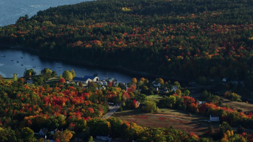 6K aerial video flying by a coastal town toward the water surrounded by autumn trees, Blue Hill, Maine Aerial Stock Footage | AX149_012