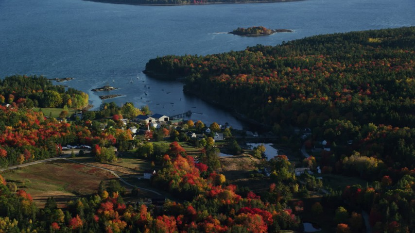6K stock footage aerial video flying by coastal neighborhood among fall foliage, Blue Hill, Maine Aerial Stock Footage | AX149_013