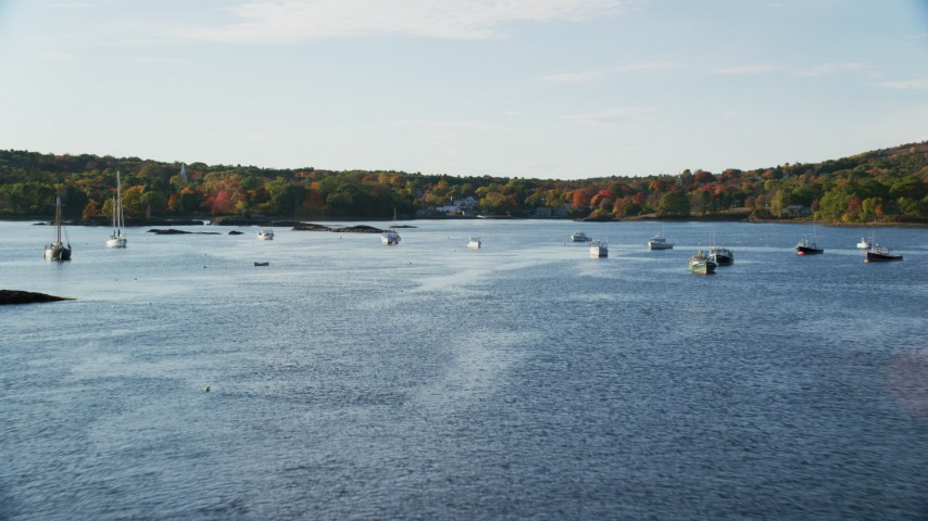 6K stock footage aerial video flying over water with boats toward fall foliage, Blue Hill, Maine Aerial Stock Footage | AX149_024