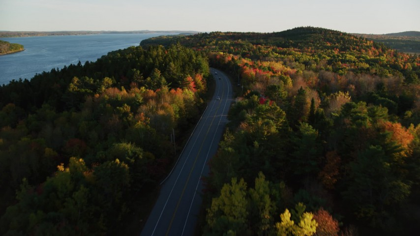 6K aerial video flying over a road among colorful forest in autumn, Stockton Springs, Maine, sunset Aerial Stock Footage | AX149_118