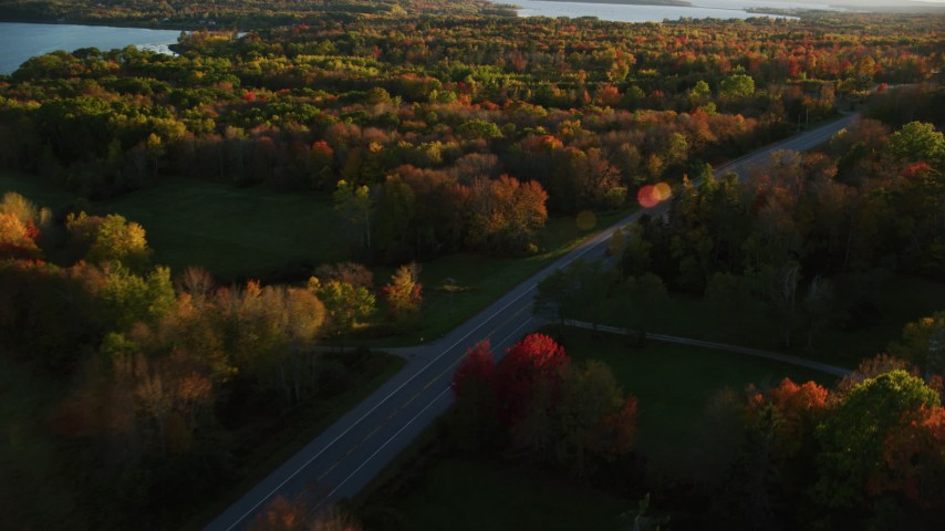 6K aerial video tracking car on road through forest, autumn, Stockton Springs, Maine, sunset Aerial Stock Footage | AX149_132