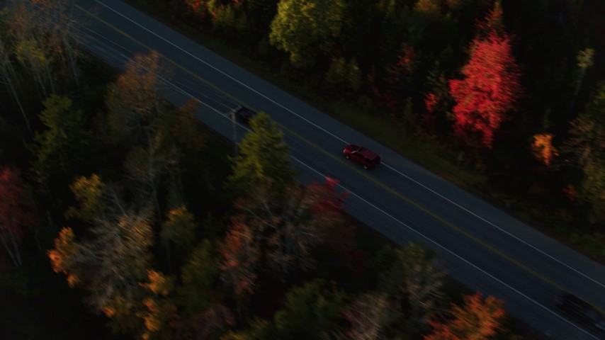 6K stock footage aerial video tracking car on road through forest in autumn, Stockton Springs, Maine, sunset Aerial Stock Footage | AX149_135