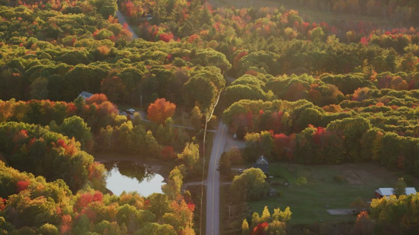 6K stock footage aerial video flying by road, rural homes, forest in autumn, Belmont, Maine, sunset Aerial Stock Footage | AX149_168