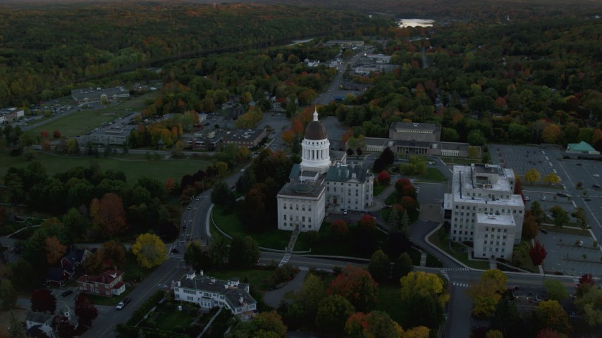 6K aerial video orbiting the Maine State House, autumn, Augusta, Maine, twilight  Aerial Stock Footage | AX149_216