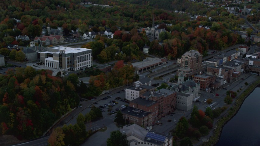 6K stock footage aerial video approaching downtown, Supreme Court, autumn, Augusta, Maine, twilight Aerial Stock Footage | AX149_235