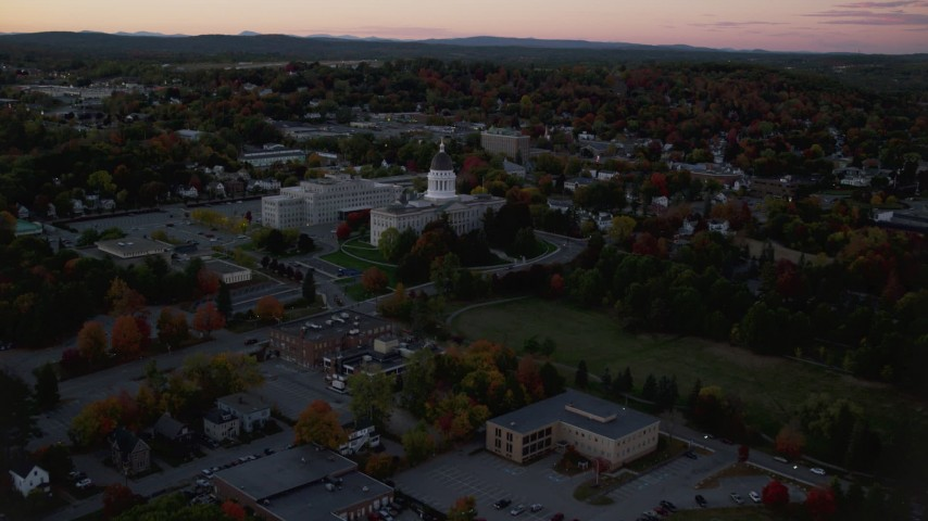 6K stock footage aerial video approaching the Maine State House, autumn, Augusta, Maine, twilight Aerial Stock Footage | AX149_252