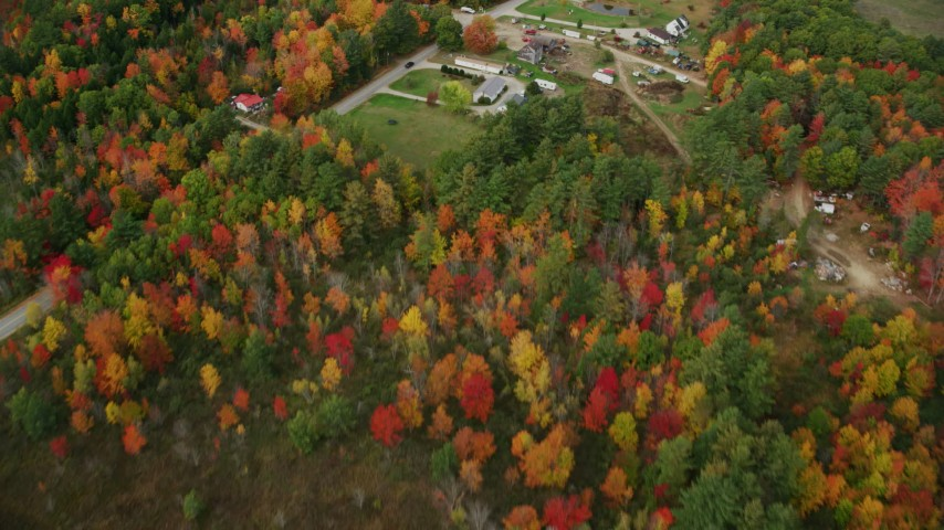 6K stock footage aerial video of a bird's eye view over colorful trees, reveal river, Bog Road, autumn, Leeds, Maine Aerial Stock Footage | AX150_030