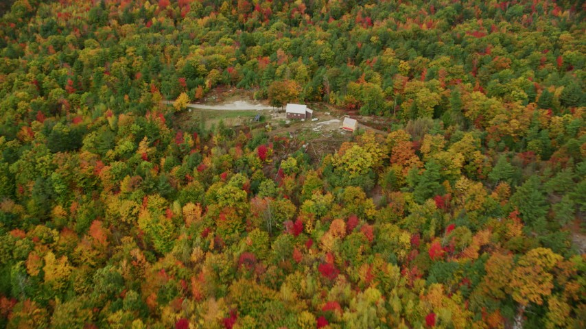 6K stock footage aerial video flying over colorful forest, approach isolated home, tilt down, autumn, Leeds, Maine Aerial Stock Footage | AX150_033