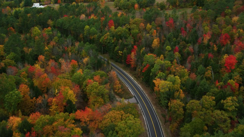 6K stock footage aerial video tilting up from Buckfield Road to colorful trees in autumn, Paris, Maine Aerial Stock Footage | AX150_080