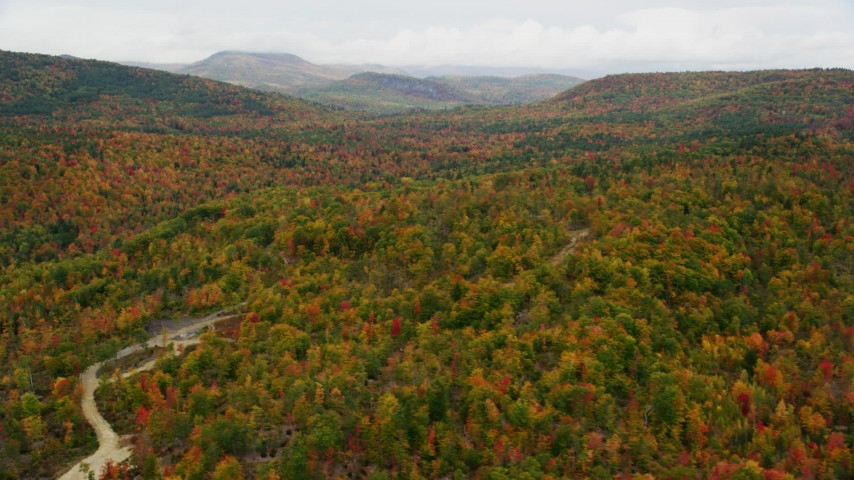 6K stock footage aerial video flying by forest of brightly colored trees, distant hills, autumn, overcast, Waterford, Maine Aerial Stock Footage | AX150_115