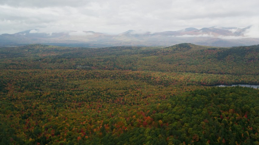 6K aerial video flying over dense forest, approaching White Mountains in autumn, Lovell, Maine Aerial Stock Footage | AX150_142