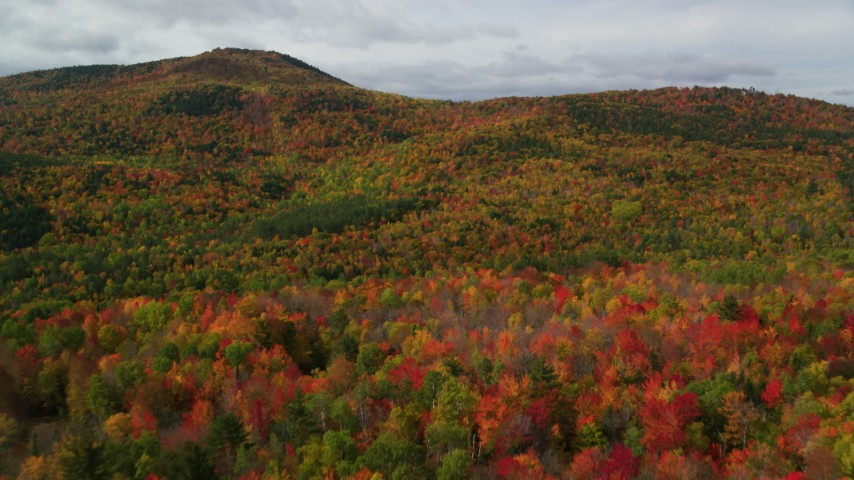 6K aerial video flying over colorful forest, approaching cloudy skies, White Mountains, New Hampshire Aerial Stock Footage | AX150_164