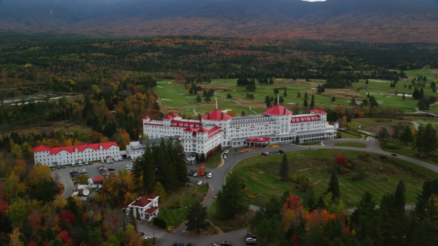 6K stock footage aerial video of Omni Mount Washington Resort, Bretton Woods, Mount Washington Resort Golf Club, Carroll, New Hampshire Aerial Stock Footage AX150_207 | Axiom Images