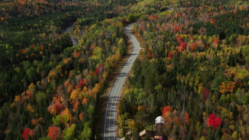 6K stock footage aerial video flying over Highway 302, brightly colored forest, autumn, Carroll, New Hampshire Aerial Stock Footage | AX150_229