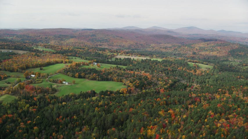 6K stock footage aerial video flying over bright forest, autumn, approach small farms, overcast,  Ryegate, Vermont Aerial Stock Footage | AX150_313