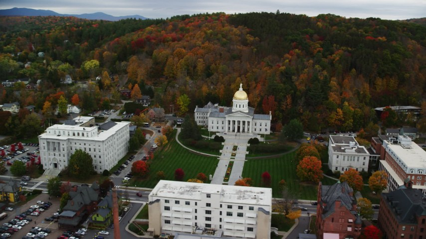6K stock footage aerial video orbiting Vermont State House, downtown, autumn, Montpelier, Vermont Aerial Stock Footage | AX150_355