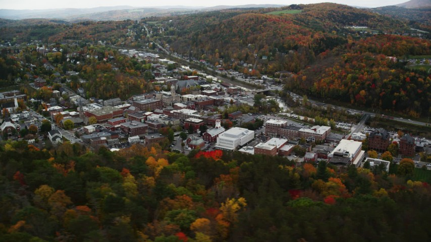 6K stock footage aerial video flying by downtown buildings, colorful trees, autumn, Montpelier, Vermont Aerial Stock Footage | AX150_357