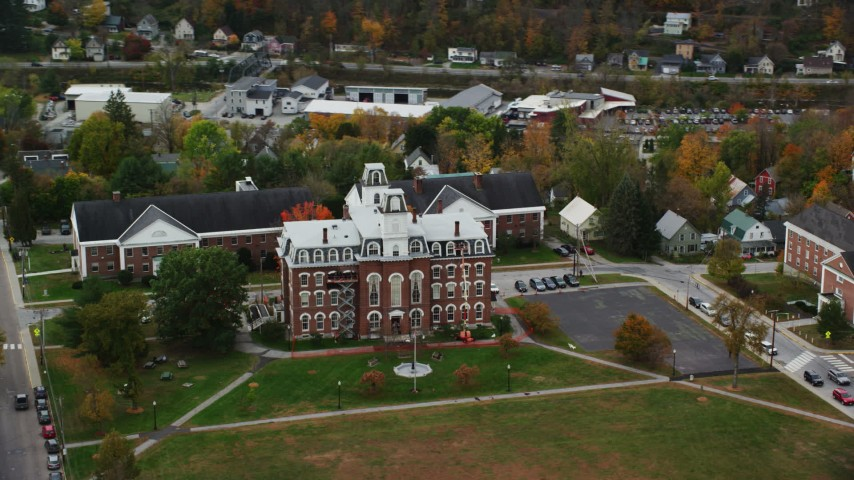 6K stock footage aerial video flying by Vermont College of Fine Arts, autumn, Montpelier, Vermont Aerial Stock Footage | AX150_360