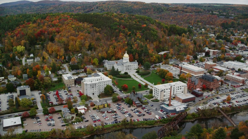 6K stock footage aerial video flying by downtown, Vermont State House, autumn, Montpelier, Vermont Aerial Stock Footage | AX150_373