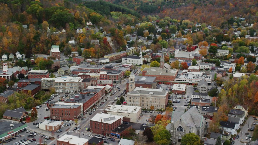 6K stock footage aerial video flying by Montpelier City Hall, downtown buildings, autumn, Montpelier, Vermont Aerial Stock Footage | AX150_374