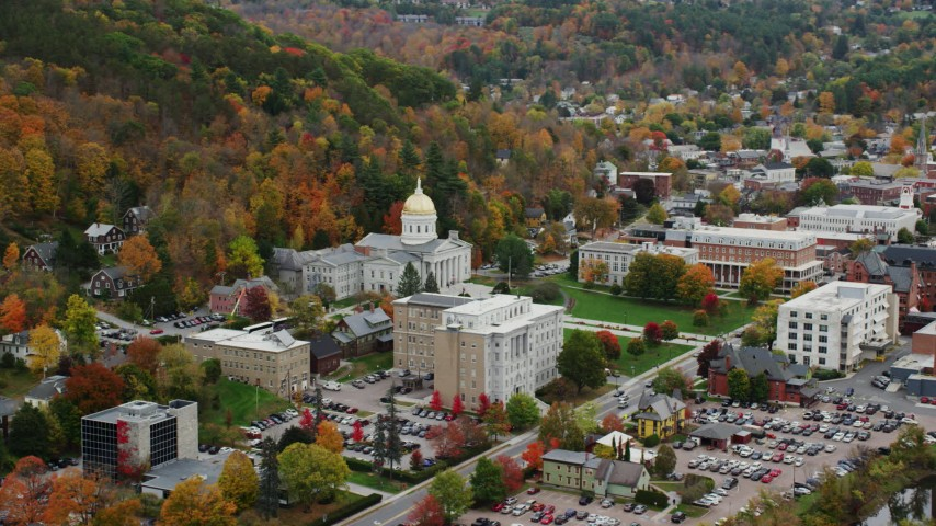 6K stock footage aerial video flying away form Vermont State House, colorful foliage, autumn, Montpelier, Vermont Aerial Stock Footage | AX150_383