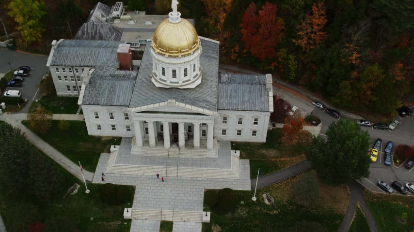 6K stock footage aerial video approaching Vermont State House, tilt down, autumn, Montpelier, Vermont Aerial Stock Footage | AX150_389
