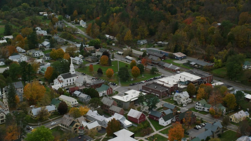 Orbit church, town square, small rural town in autumn, South Royalton, Vermont Aerial Stock Footage | AX150_446