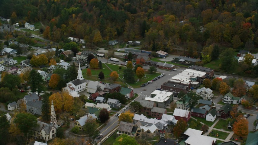 6K stock footage aerial video orbiting church, town square, small rural town in autumn, South Royalton, Vermont Aerial Stock Footage | AX150_446