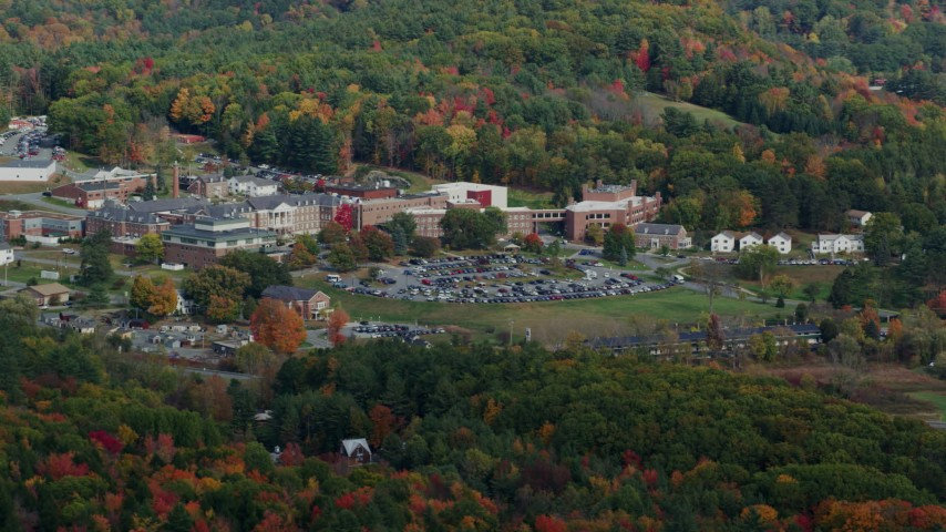 6K stock footage aerial video flying by White River Junction VA Medical Center, autumn, White River Junction, Vermont Aerial Stock Footage | AX150_472
