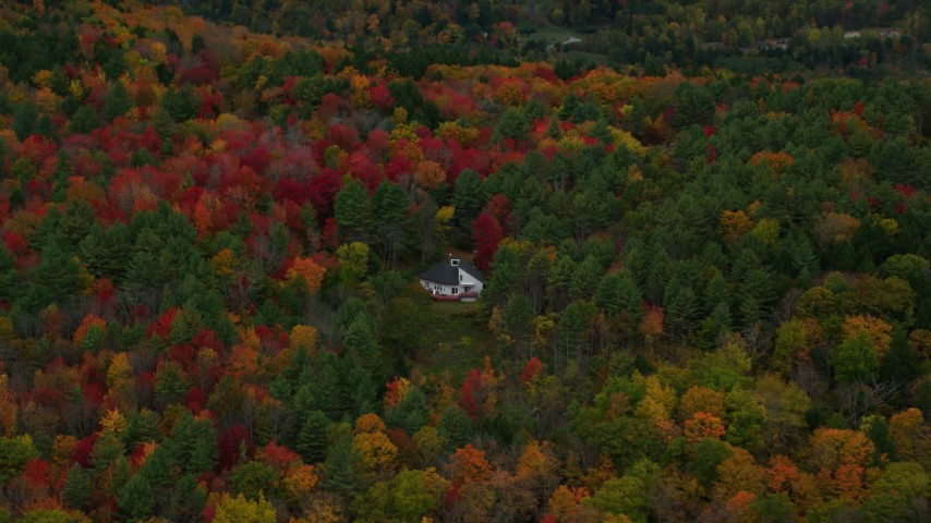 6K stock footage aerial video flying by rural home, dense colorful trees, tilt down, autumn, Quechee, Vermont Aerial Stock Footage | AX151_007