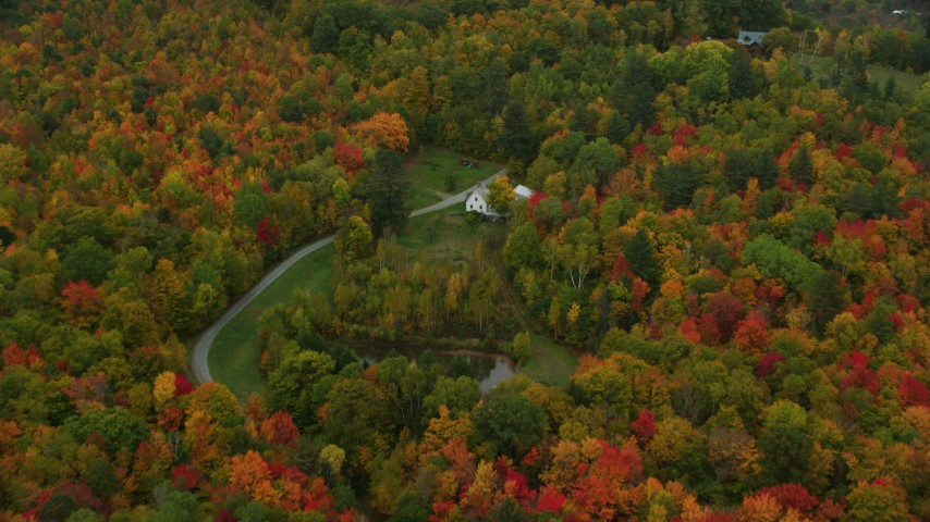 6K stock footage aerial video flying over forest, approach isolated home, tilt down, autumn, Hartland, Vermont Aerial Stock Footage | AX151_042