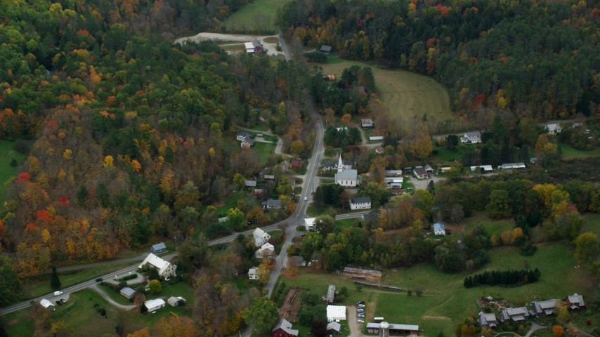 6K stock footage aerial video flying by Skunk Hollow Road, Mace Hill Road, autumn, Hartland, Vermont Aerial Stock Footage | AX151_044